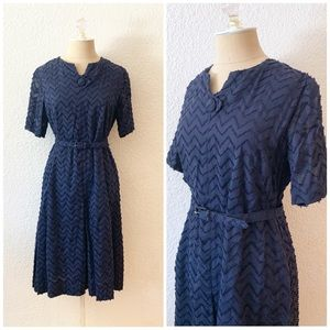 Vintage 50s Chenille Rockabilly Belted Dress Navy